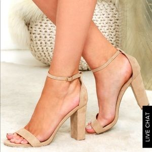 TAYLOR NATURAL SUEDE ANKLE STRAP HEELS NEVER WORN